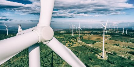 Wind turbine from aerial view. Sustainable development, environment friendly concept. Wind turbine give renewable energy, sustainable energy, alternative energy. Wind sustainability energy.